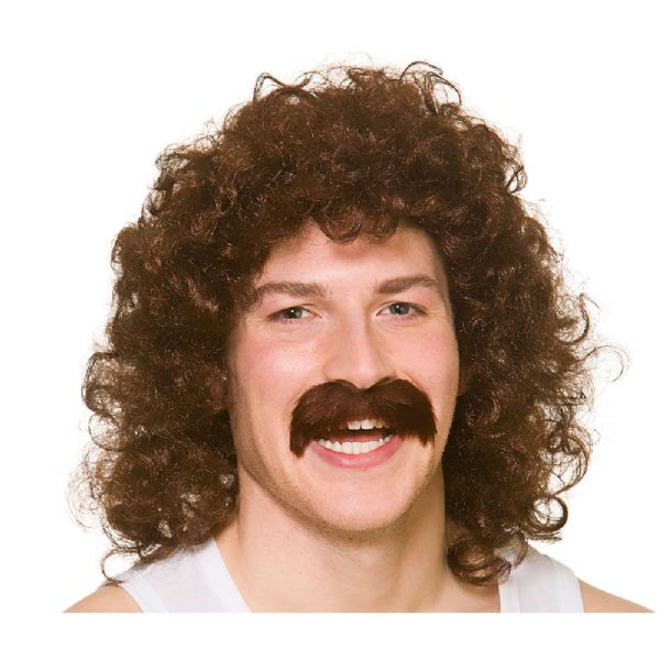 Adults Ladies 80's Perm Wig with Tash - Brown Accessory Marathon 118 Fancy Dress